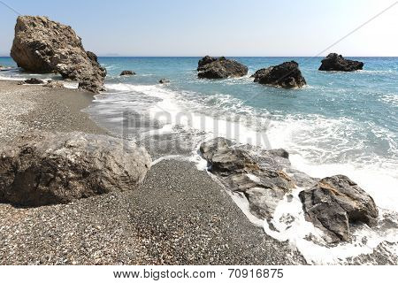 Cretan Pebble Beach. Mediterranean Sea. Greece