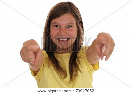 Smiling Young Girl Pointing With Her Finger I Want You