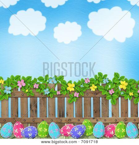 Fondo pastel con huevos de colores para celebrar la Pascua