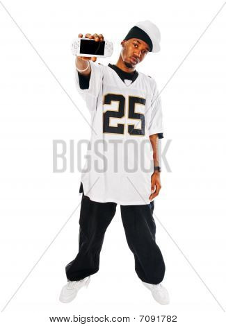 Handsome Hip-hop Young Man With Video Game On White