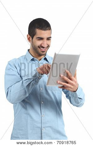 Arab Man Browsing A Tablet Reader With Finger