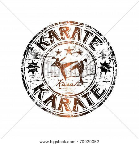 Karate grunge rubber stamp