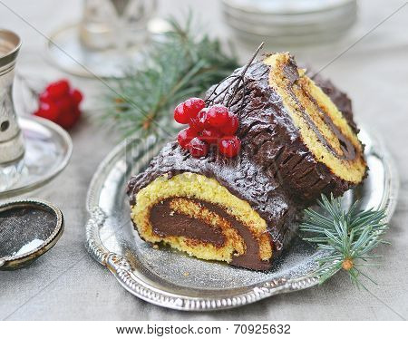 Yule log . traditional  france christmas dessert