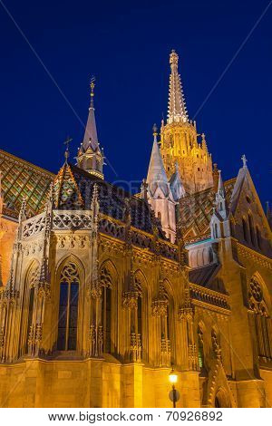 Matthias Church At Buda Castle In Budapest, Hungary At Night