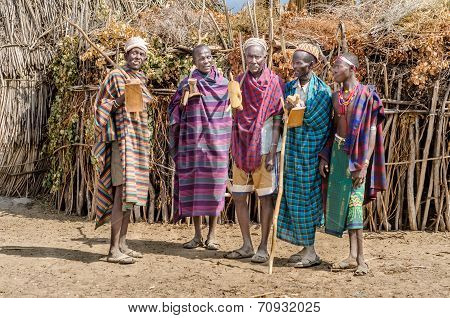 Group Of Old Men From Arbore Tribe