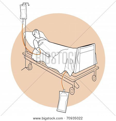 Vecor Illustration of Patient Lay Down On Stretcher