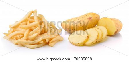 Potato And French Fries Isolated On White Background