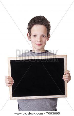 Kid Holding A Black Board