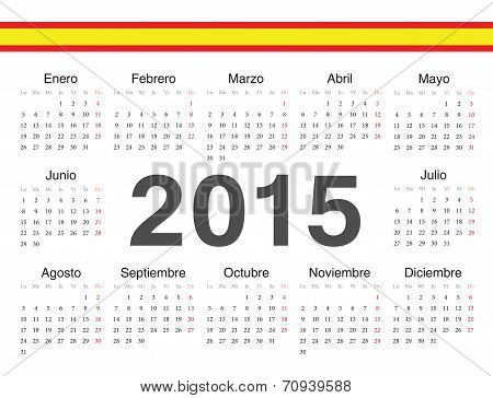 Vector Spanish Circle Calendar 2015
