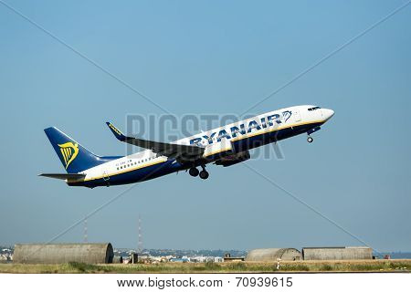 A Plane From The Airline Ryanair Takes Off In Greece. Ryanair Is Europe's Favorite Low Fares Airline