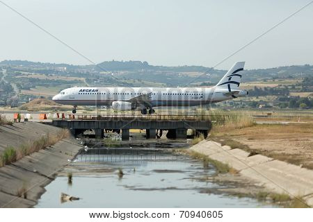 Aircraft Operated By Aegean Airlines, Ready To Take Off At International Airport 'makedonia', Greece