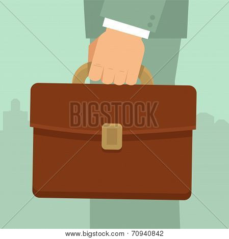 Vector Businessman's Hand Holding Briefcase