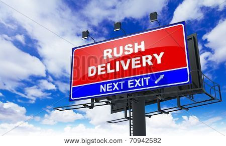 Rush Delivery on Red Billboard.