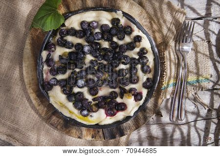 Raw Focaccia With Red Grape Strawberry