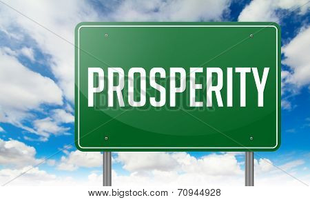 Prosperity on Highway Signpost.