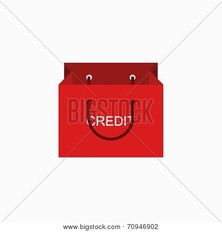 vector modern shopping credit icon on white