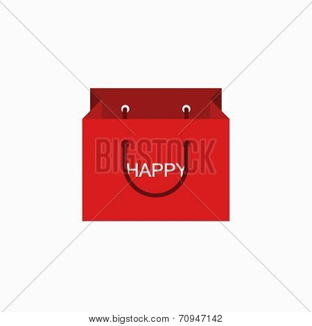 vector modern shopping happy icon on white