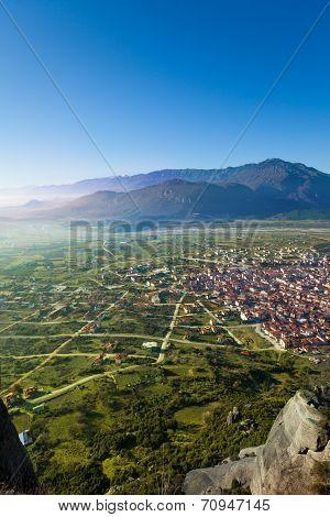 The Kalabaka town in Meteora mountains, Greece