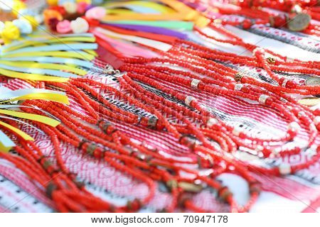 Background of colorful beads collection at the shop