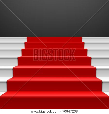 Staircase with red carpet. Vector.