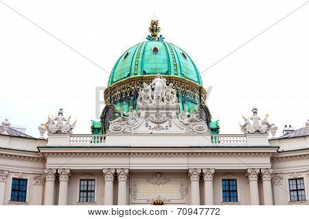 Hofburg Palace Cupola With Decoratice Sculptures On Roof