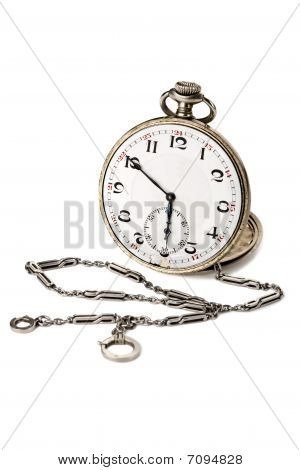 Old Pocket Watch With A Chain