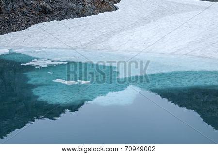 Ice Shelf In Glacial Pool