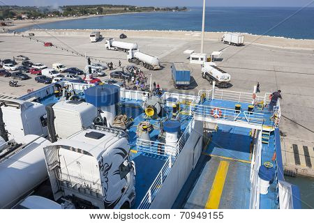 Ferry At Bay Of Zante Town In Greece
