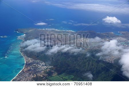 Aerial View Of Waimanalo, Rock Island, Hawaii Kai Town, Koko Head Crater, Farms, Ko'olau Range Mount