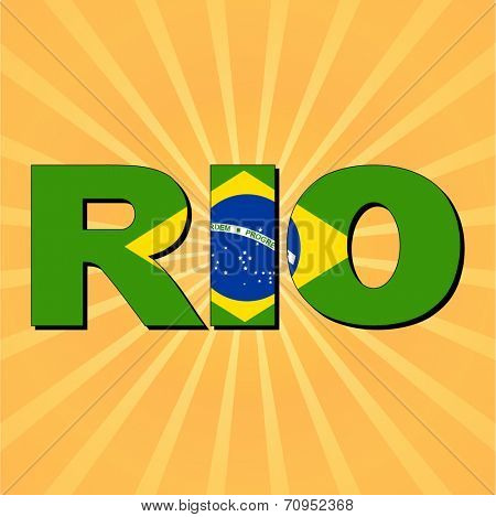 Rio flag text with sunburst vector illustration