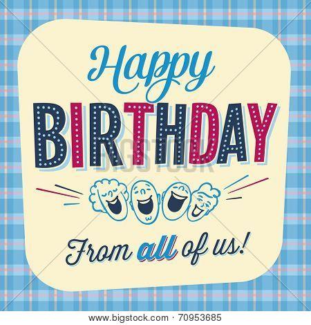 Vintage Birthday Card - Happy Birthday from all of us! - JPG Version