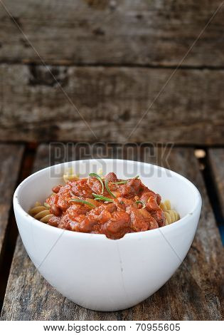 Pasta With Tomato Sause And Beans