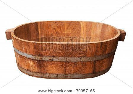 Empty Wooden Tub.