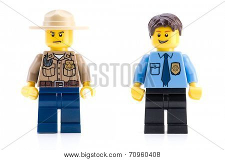 Ankara, Turkey - April 04, 2012 : Lego police minifigures isolated on white background.