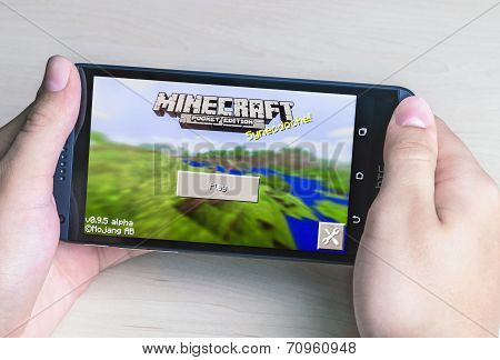 Minecraft Computer Game In The Genre With Elements Of Survival Sandbox And Open World For Smartphone