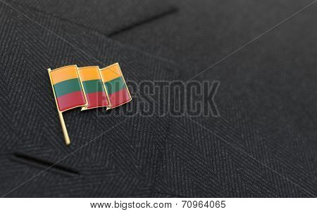 Lithuania Flag Lapel Pin On The Collar Of A Business Suit