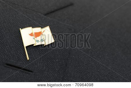 Cyprus Flag Lapel Pin On The Collar Of A Business Suit