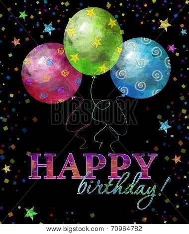 Beautiful happy birthday greeting card with text ,drops and stars, balloons. Business card.