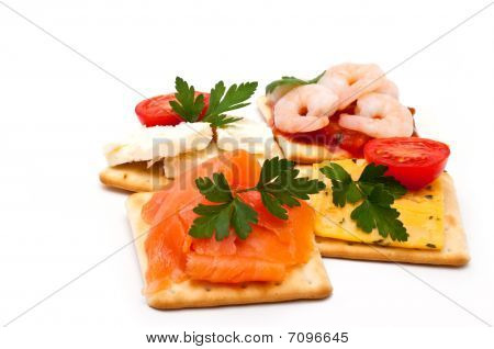 Cheese, Salmon, Prawns On Crackers