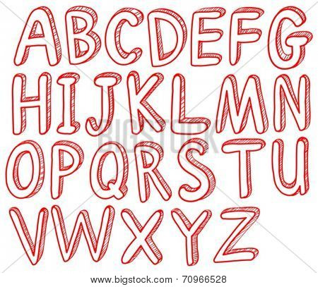 Illustration of red english alphabets