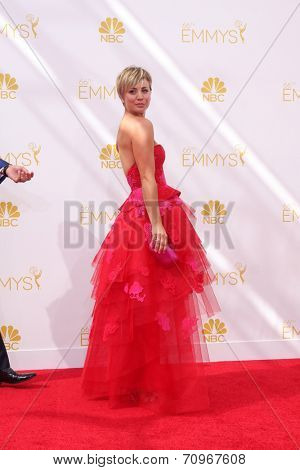 LOS ANGELES - AUG 25:  Kaley Cuoco at the 2014 Primetime Emmy Awards - Arrivals at Nokia at LA Live on August 25, 2014 in Los Angeles, CA
