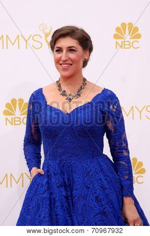 LOS ANGELES - AUG 25:  Mayim Bialik at the 2014 Primetime Emmy Awards - Arrivals at Nokia at LA Live on August 25, 2014 in Los Angeles, CA