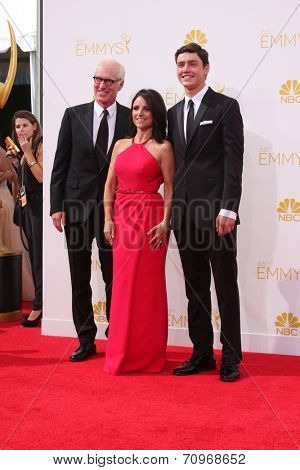 vLOS ANGELES - AUG 25:  Brad Hall, Julia Louis-Dreyfus, Charles Hall at the 2014 Primetime Emmy Awards - Arrivals at Nokia at LA Live on August 25, 2014 in Los Angeles, CA