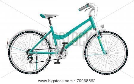 Lady's cyan sports bike
