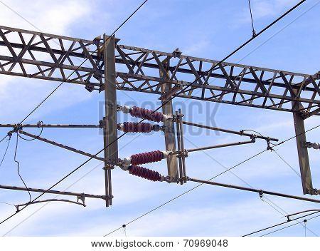 Overhead line of railway tracks