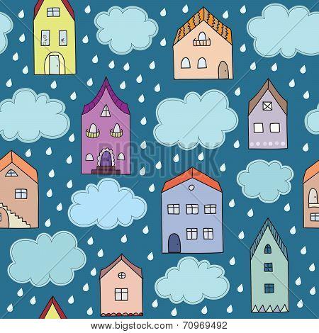 Rainy city vector seamless pattern.