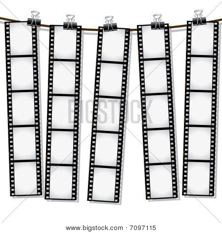Film strips hanging out to dry