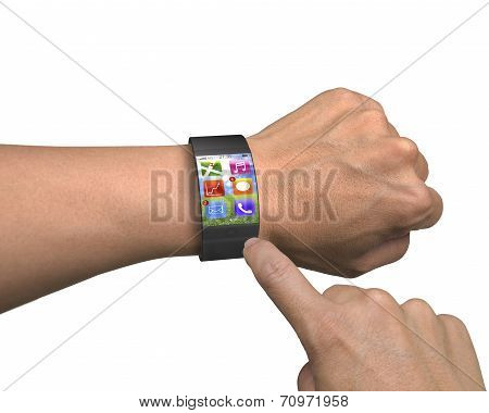Finger Touch Apps On Ultra-lightweight Curved-screen Smart Watch