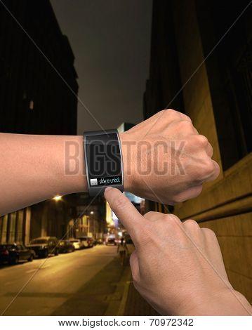 Male Finger Touching Slide To Unlock On Screen Of Smartwatch