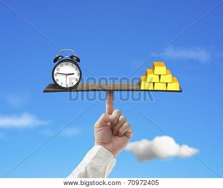 Clock Vs Gold Balance On Finger Seesaw